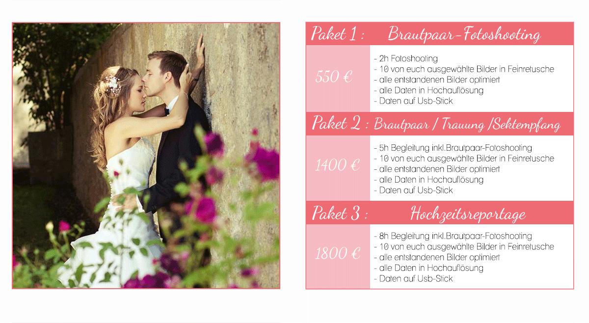 Preise Hochzeit Fotograf